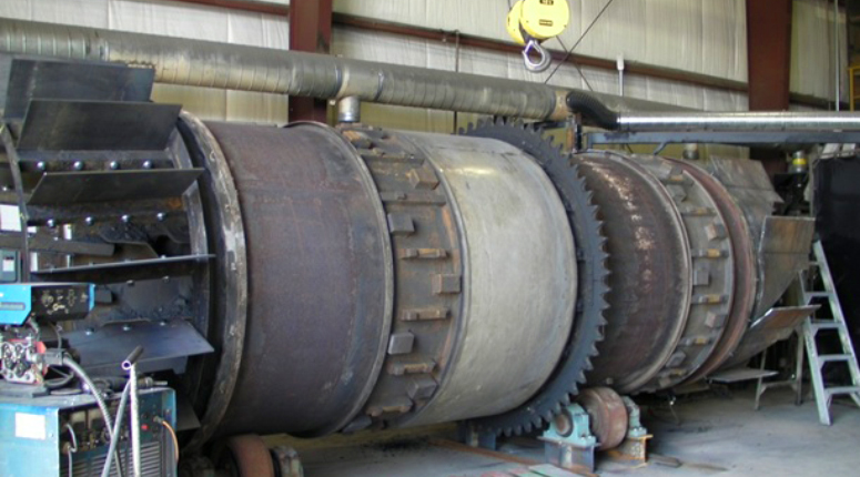 Asphalt plant dryer drum rebuild